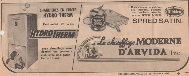 Chauffage moderne publicité 1969